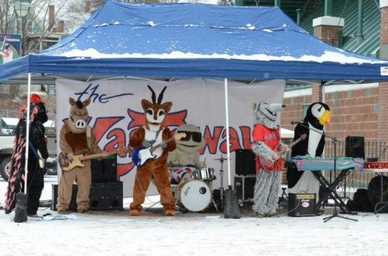 The Kastaways performed with a special guest (the one with the antlers).